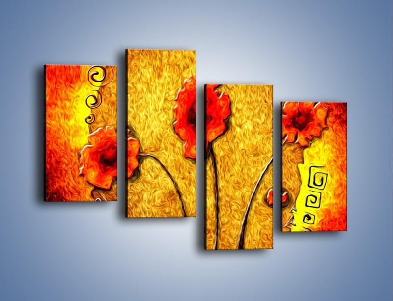 Obraz na płótnie – Maki w ogniu – czteroczęściowy GR572W2