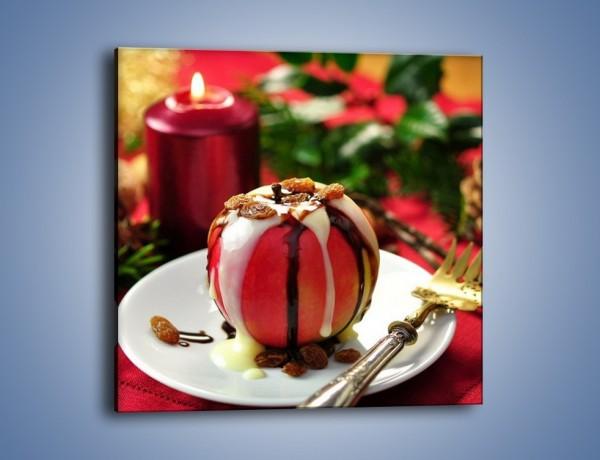 Obraz na płótnie – Jabłko w czekoladzie – jednoczęściowy kwadratowy JN255