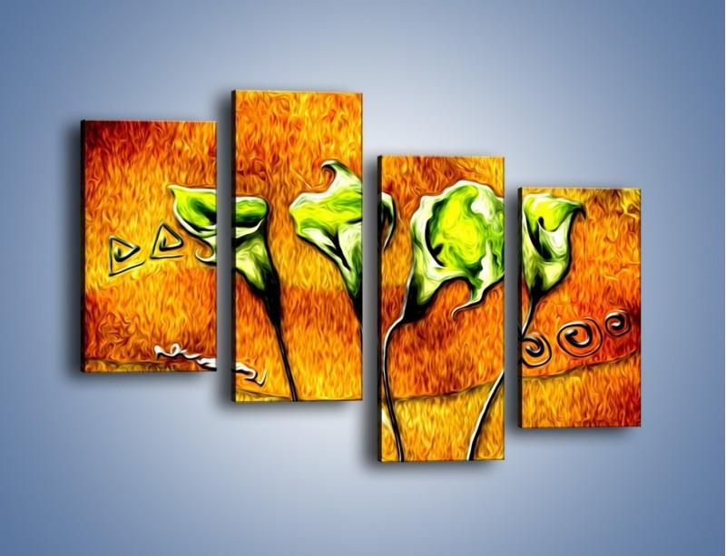 Obraz na płótnie – Zielone kalie w ogniu – czteroczęściowy GR635W2