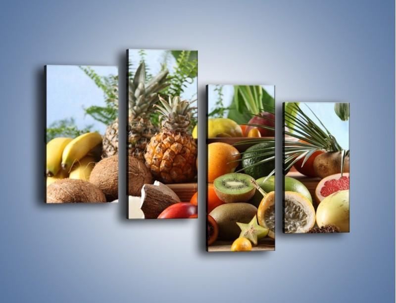 Obraz na płótnie – Mix owocowy na drewnianym stole – czteroczęściowy JN009W2
