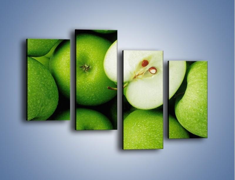 Obraz na płótnie – Zielone jabłuszka – czteroczęściowy JN039W2