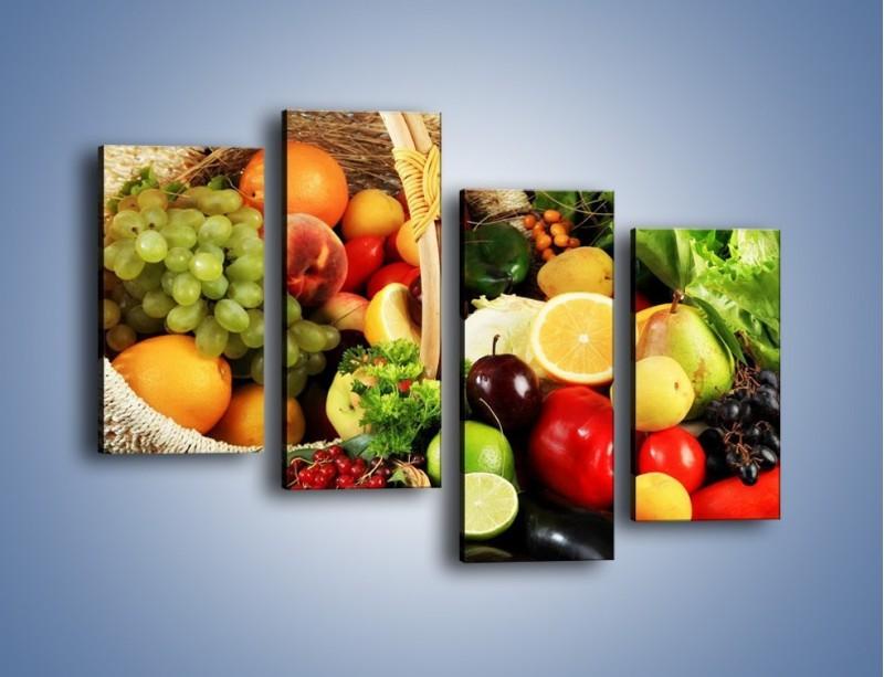 Obraz na płótnie – Kosz pełen owocowo-warzywnego zdrowia – czteroczęściowy JN059W2