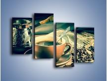 Obraz na płótnie – Czarna kawa arabica – czteroczęściowy JN064W2