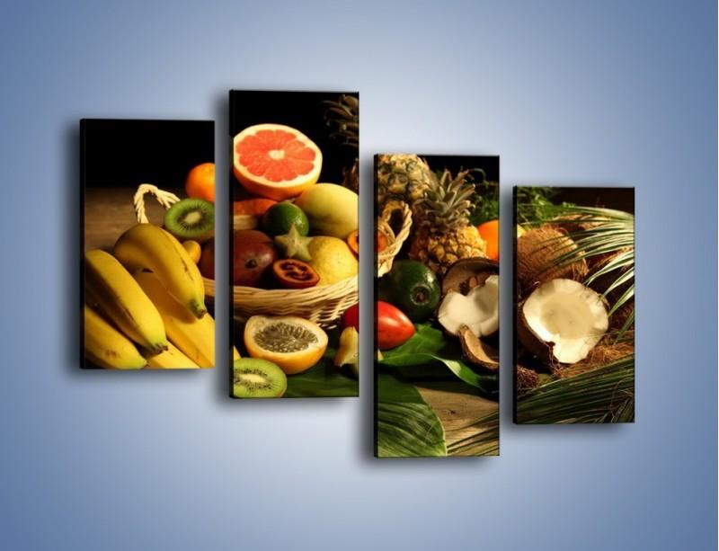 Obraz na płótnie – Kosz egzotycznych owoców – czteroczęściowy JN074W2