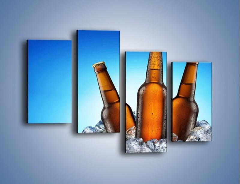 Obraz na płótnie – Szron na butelkach piwa – czteroczęściowy JN075W2