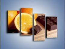 Obraz na płótnie – Czekoladowo-pomarańczowa rozkosz – czteroczęściowy JN094W2