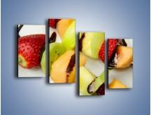 Obraz na płótnie – Czekoladowo-owocowe szaszłyki – czteroczęściowy JN112W2