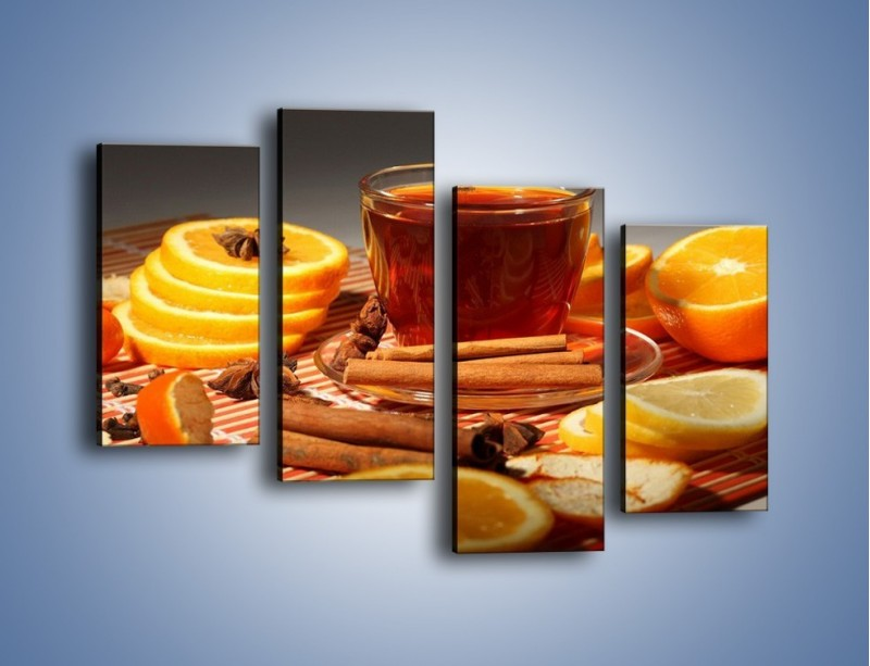 Obraz na płótnie – Imbirowo-pomarańczowe rozluźnienie – czteroczęściowy JN260W2