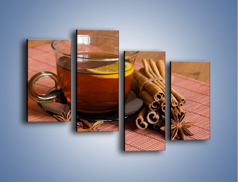 Obraz na płótnie – Rozgrzewająca filiżanka herbaty – czteroczęściowy JN266W2