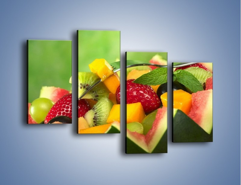 Obraz na płótnie – Arbuzowa misa z owocami – czteroczęściowy JN274W2