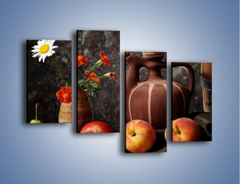 Obraz na płótnie – Kwiaty wśród owoców – czteroczęściowy JN280W2