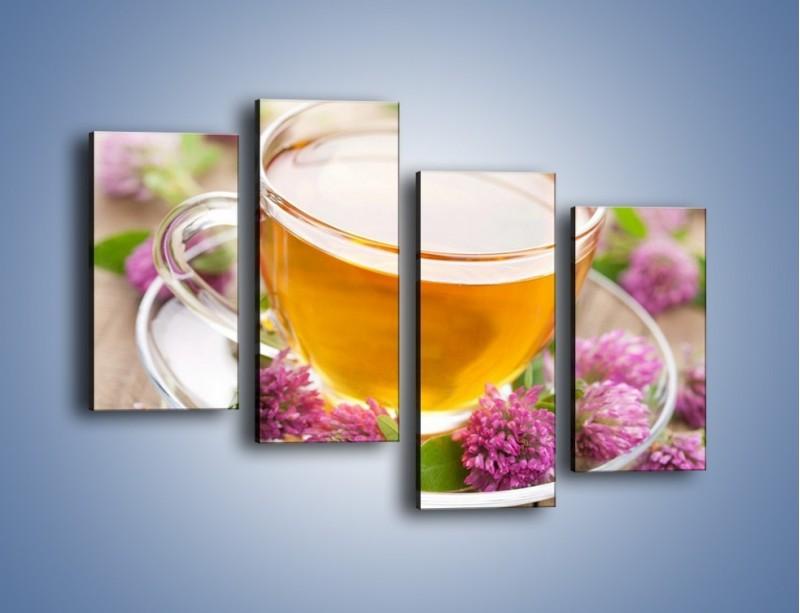 Obraz na płótnie – Herbata z kwiatami – czteroczęściowy JN283W2
