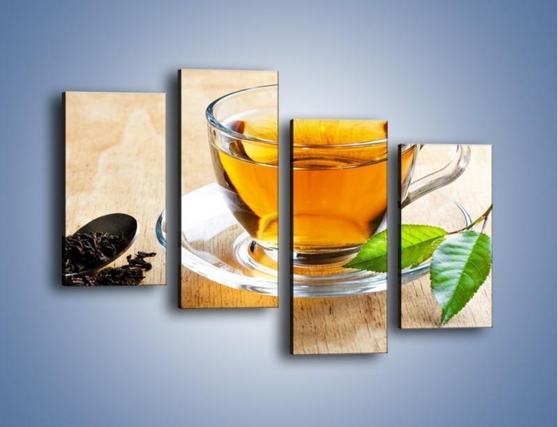 Obraz na płótnie – Listek mięty dla orzeźwienia herbaty – czteroczęściowy JN290W2