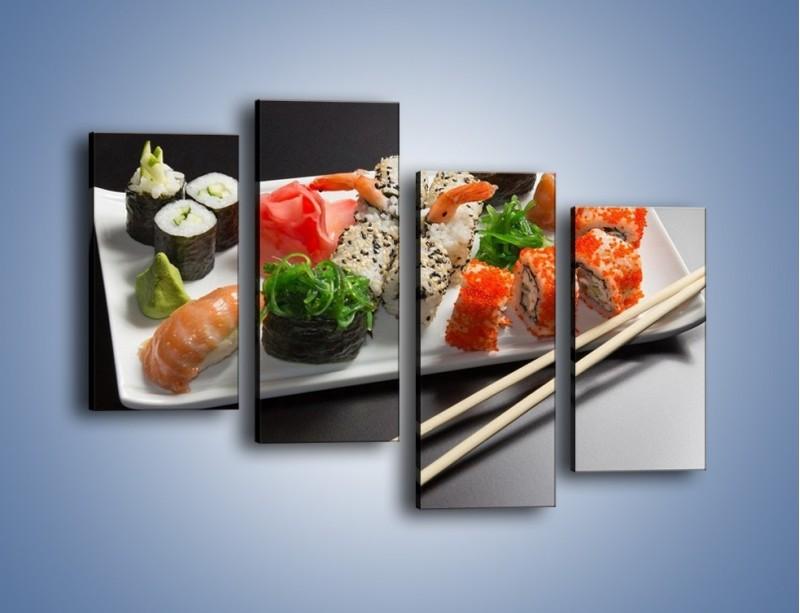 Obraz na płótnie – Kuchnia azjatycka na półmisku – czteroczęściowy JN295W2