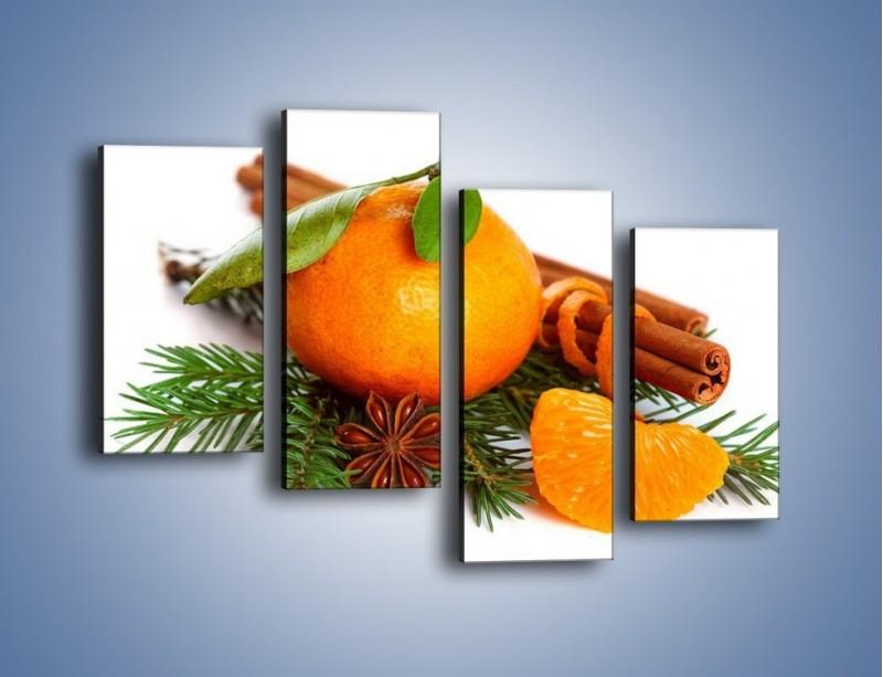 Obraz na płótnie – Pomarańcza na święta – czteroczęściowy JN306W2