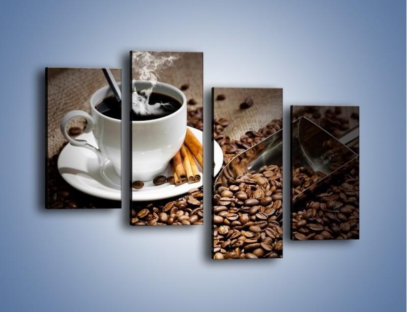 Obraz na płótnie – Czarna palona kawa – czteroczęściowy JN311W2
