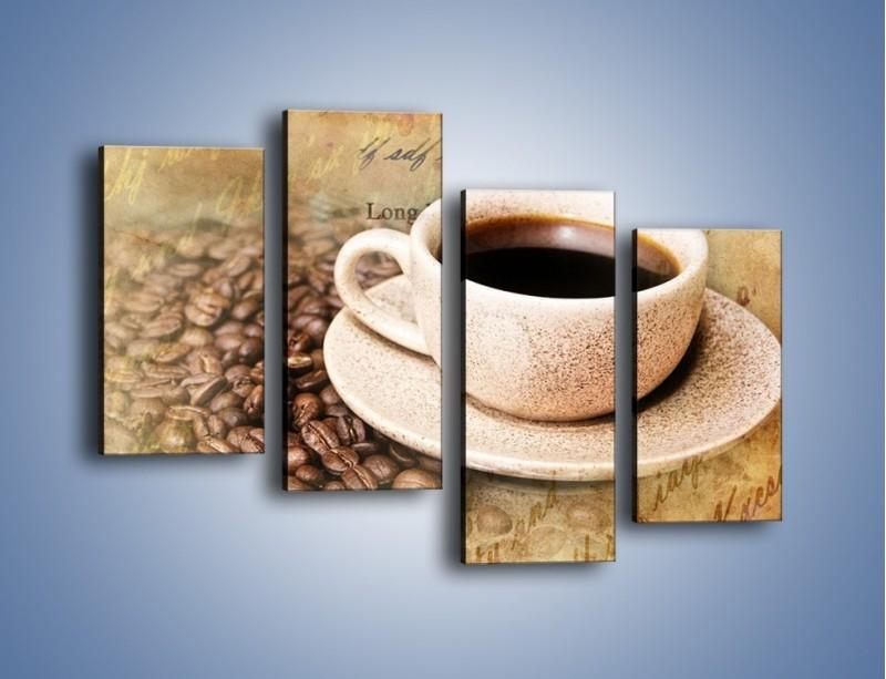 Obraz na płótnie – List przy filiżance kawy – czteroczęściowy JN347W2