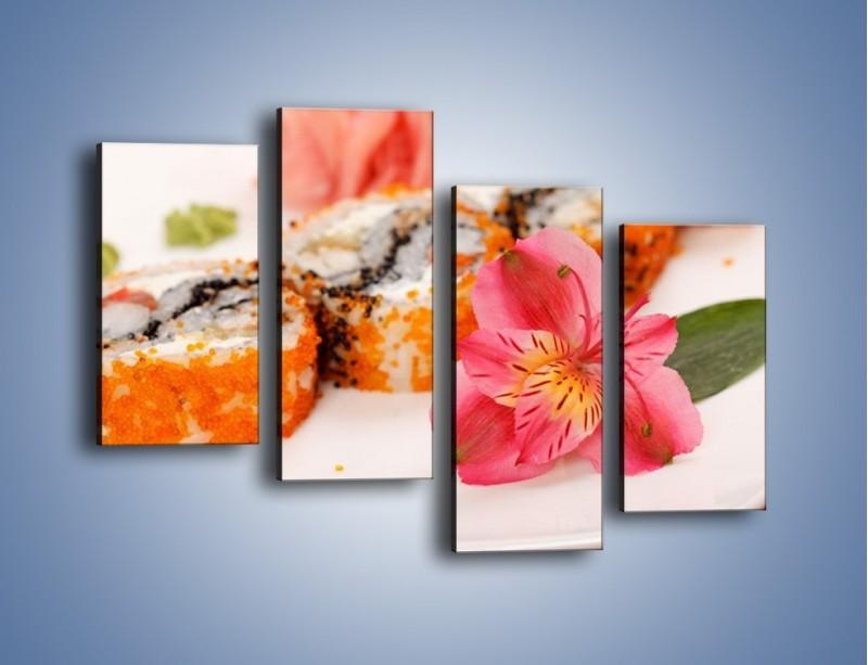 Obraz na płótnie – Sushi z kwiatem – czteroczęściowy JN354W2