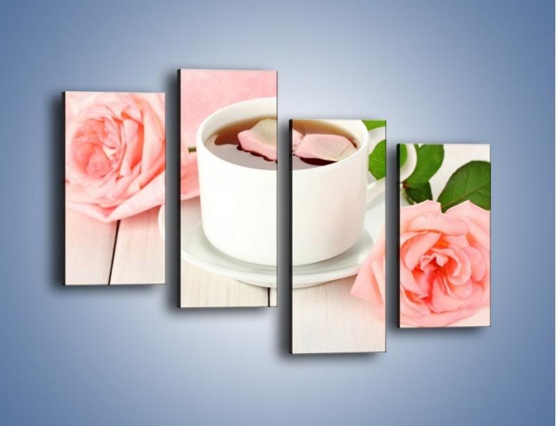 Obraz na płótnie – Herbata wśród róż – czteroczęściowy JN369W2