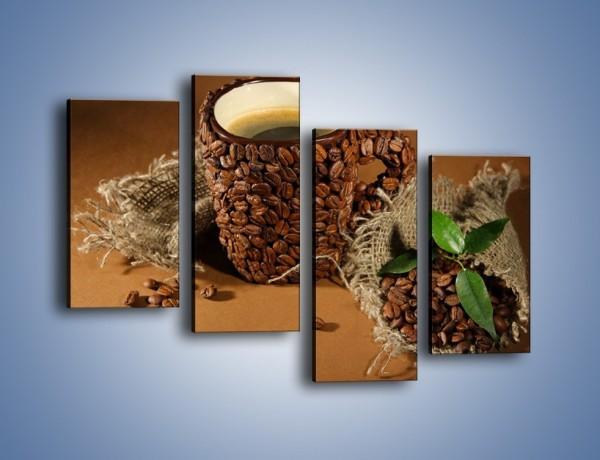 Obraz na płótnie – Kubek z ziarnami kawy – czteroczęściowy JN388W2