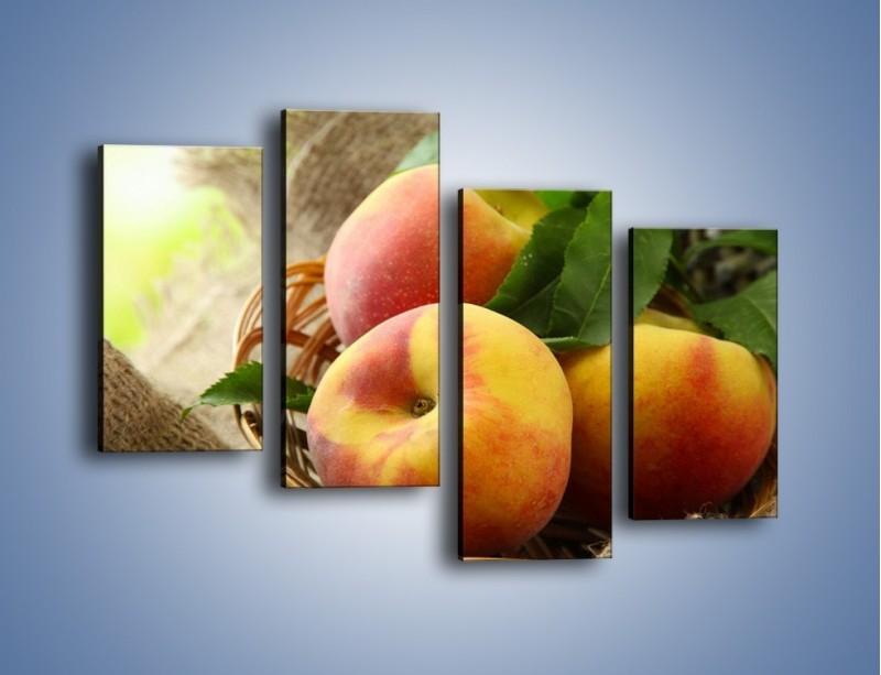 Obraz na płótnie – Dojrzałe jabłka w koszu – czteroczęściowy JN390W2