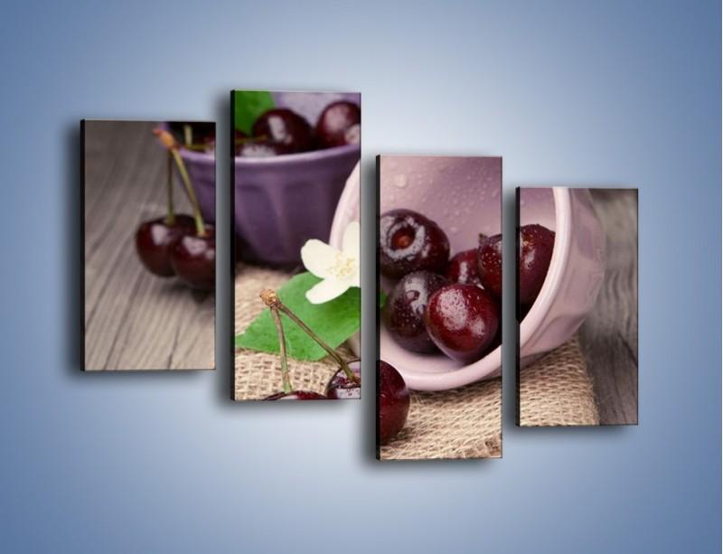 Obraz na płótnie – Wiśnie w małych pucharkach – czteroczęściowy JN399W2