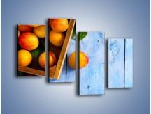 Obraz na płótnie – Brzoskwinie w drewnianej skrzyni – czteroczęściowy JN404W2