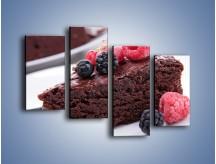 Obraz na płótnie – Czekoladowe brownie z owocami – czteroczęściowy JN408W2