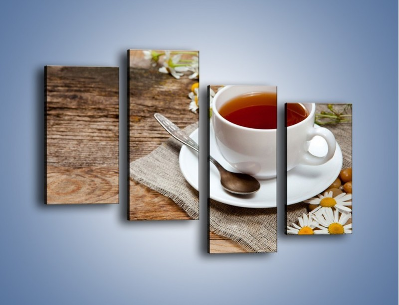 Obraz na płótnie – Herbata wśród stokrotek – czteroczęściowy JN413W2