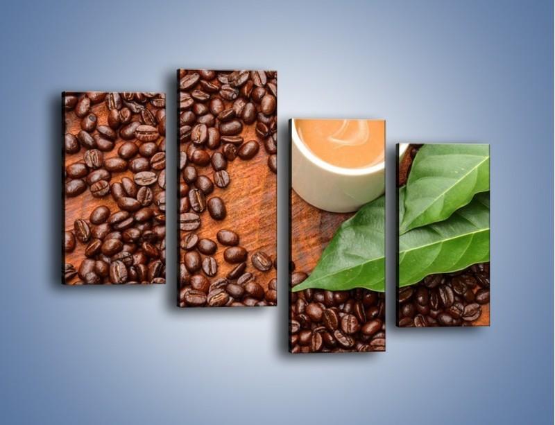Obraz na płótnie – Ziarna kawy pod liściem – czteroczęściowy JN417W2