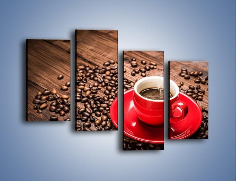 Obraz na płótnie – Kawa w czerwonej filiżance – czteroczęściowy JN441W2