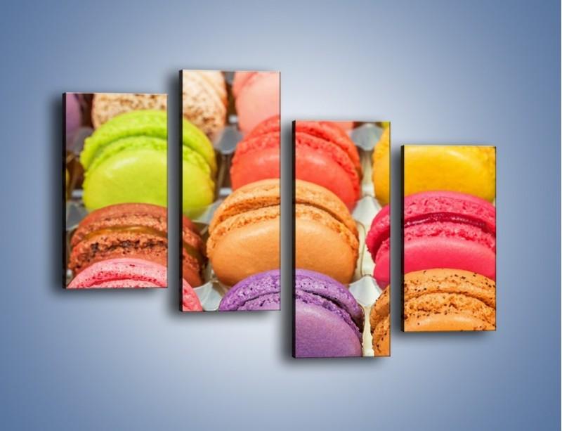 Obraz na płótnie – Słodkie babeczki w kolorach tęczy – czteroczęściowy JN458W2
