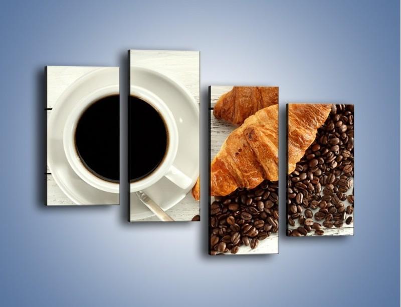 Obraz na płótnie – Kawa na białym stole – czteroczęściowy JN462W2