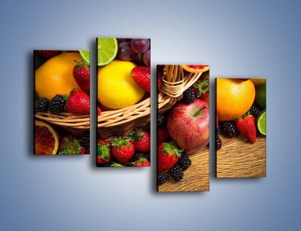 Obraz na płótnie – Kosz zatopiony w owocach – czteroczęściowy JN635W2