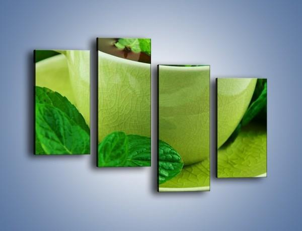 Obraz na płótnie – Zielona moc w herbacie – czteroczęściowy JN734W2