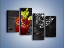 Obraz na płótnie – Czerwony drink z selerem – czteroczęściowy JN751W2