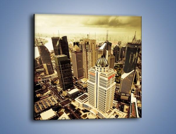 Obraz na płótnie – Drapacze chmur w centrum miasta – jednoczęściowy kwadratowy AM126