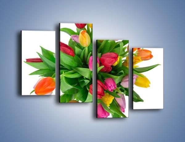 Obraz na płótnie – Wiązanka kolorowych tulipanów – czteroczęściowy K019W2