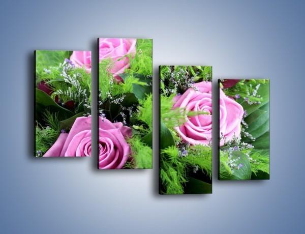 Obraz na płótnie – Bukiet róż wypełniony trawką – czteroczęściowy K068W2