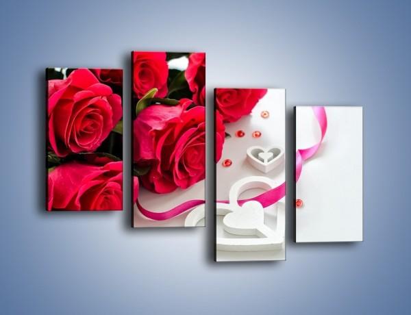 Obraz na płótnie – Róża z miłosnym przekazem – czteroczęściowy K1011W2