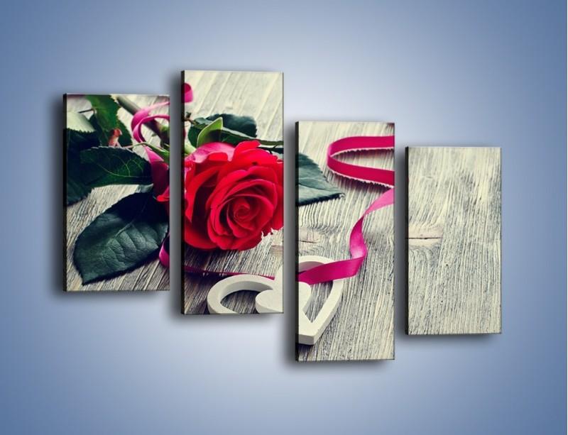Obraz na płótnie – Od serca aż po różę – czteroczęściowy K1013W2
