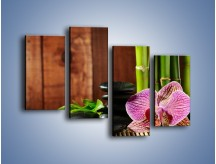 Obraz na płótnie – Bambus storczyk i kamienie – czteroczęściowy K279W2