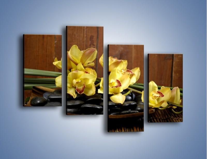 Obraz na płótnie – Kwiaty na drewnianym naczyniu – czteroczęściowy K575W2