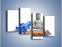 Obraz na płótnie – Budda i kwiat – czteroczęściowy K593W2