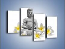 Obraz na płótnie – Budda w białych kwiatach – czteroczęściowy K599W2