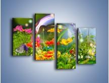 Obraz na płótnie – Bańkowy świat kwiatów – czteroczęściowy K691W2