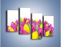 Obraz na płótnie – Bukiet fioletowo-żółtych tulipanów – czteroczęściowy K778W2