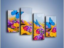 Obraz na płótnie – Bajka o kwiatach i motylach – czteroczęściowy K794W2