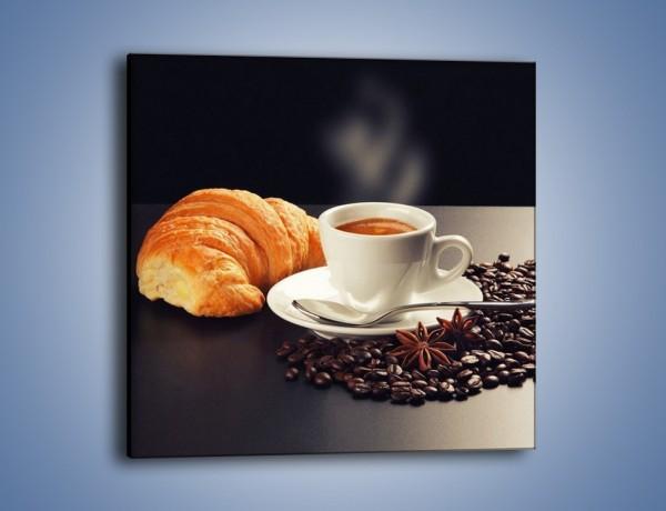 Obraz na płótnie – Rogalik z kawą – jednoczęściowy kwadratowy JN278