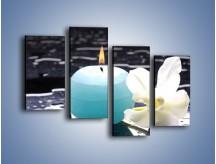 Obraz na płótnie – Błękit świecy z kwiatem – czteroczęściowy K887W2